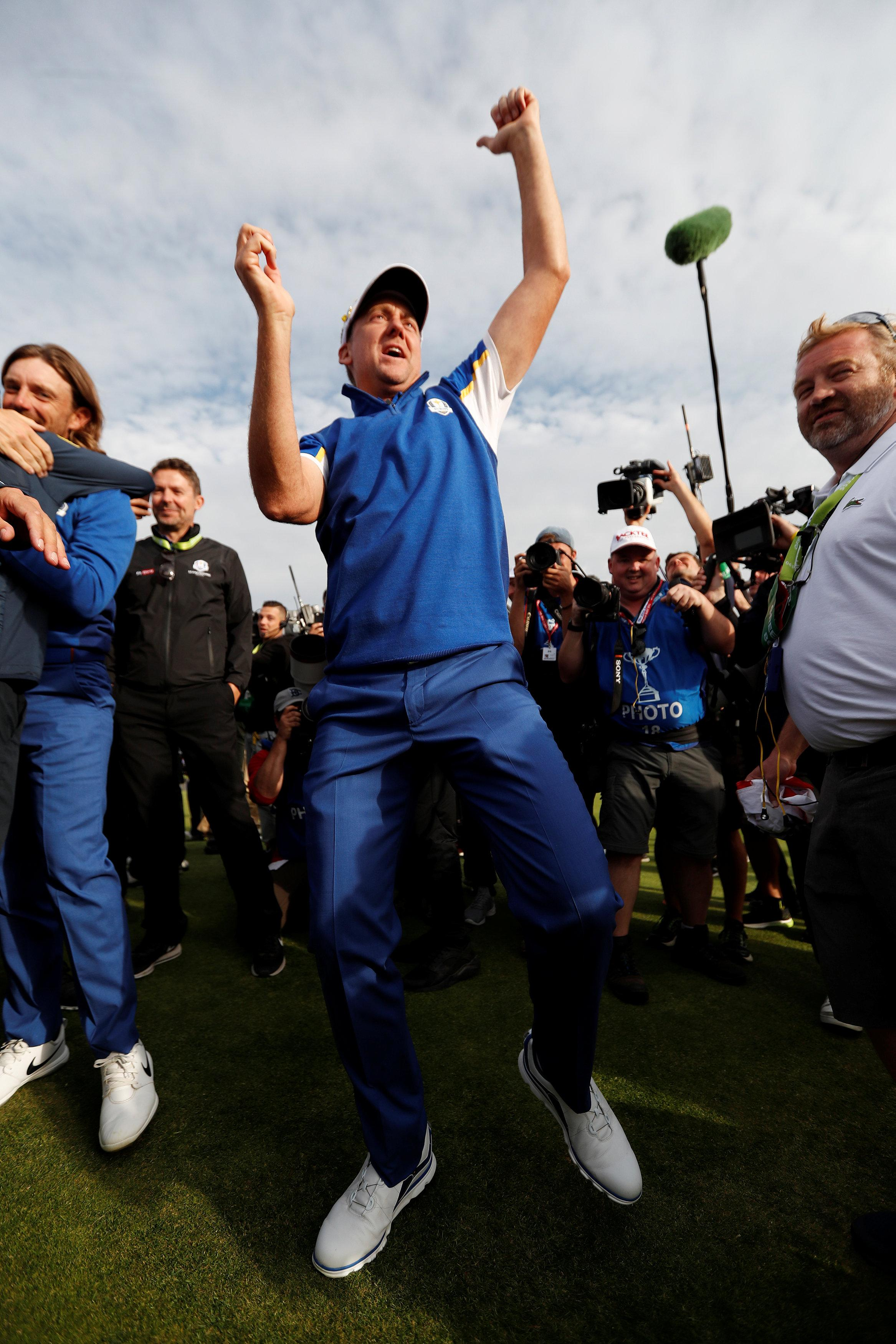Ian Poulter danced the evening away after helping Europe to victory