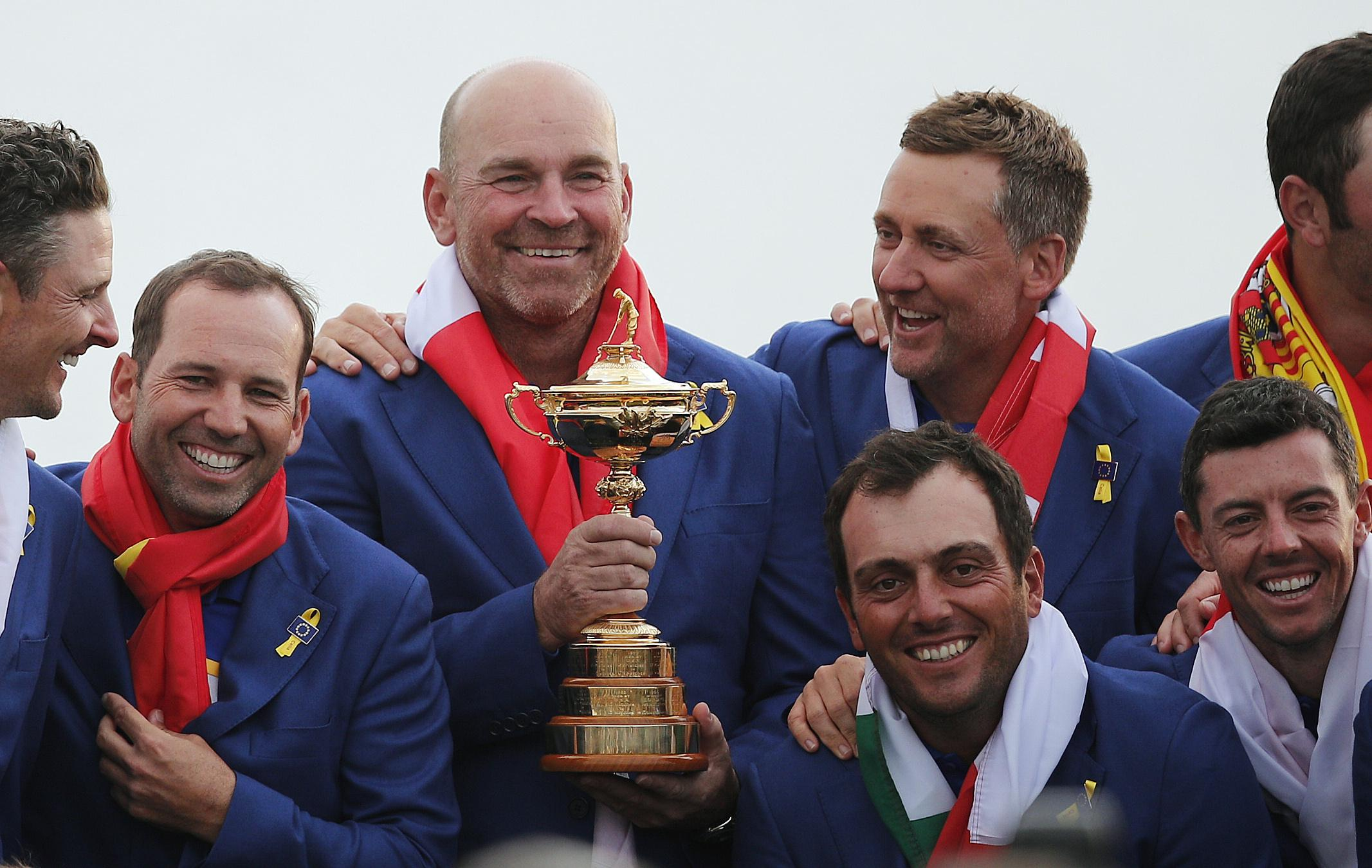 Europe captain Thomas Bjorn grins from ear to ear after clinching Ryder Cup victory