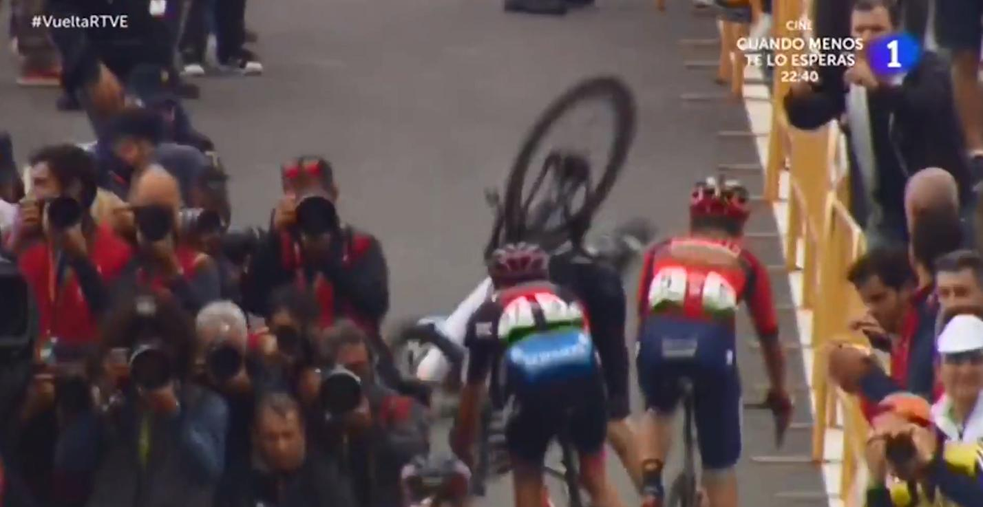 Team Sky rider Dylan van Baarle was sent flying over his handlebars after crashing into Rodriguez