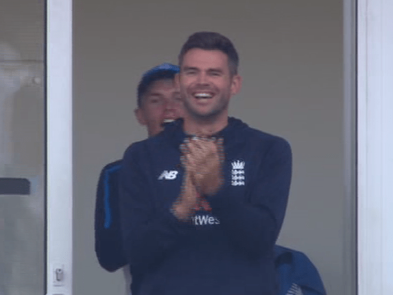 Cook's pal Jimmy Anderson jumped up and down with joy when his team-mate notched his century