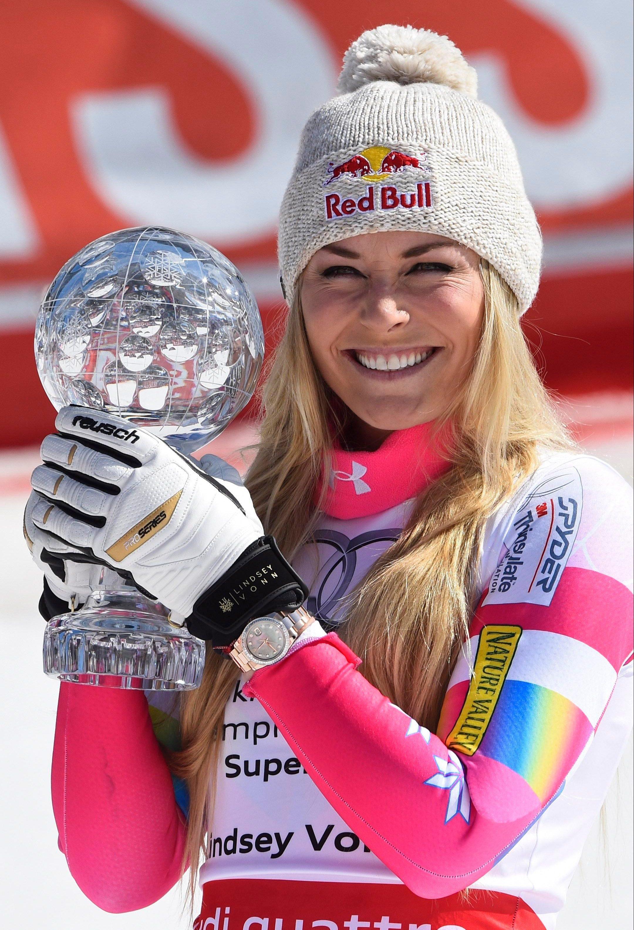 American skier Lindsey Vonn celebrates winning the Super-G