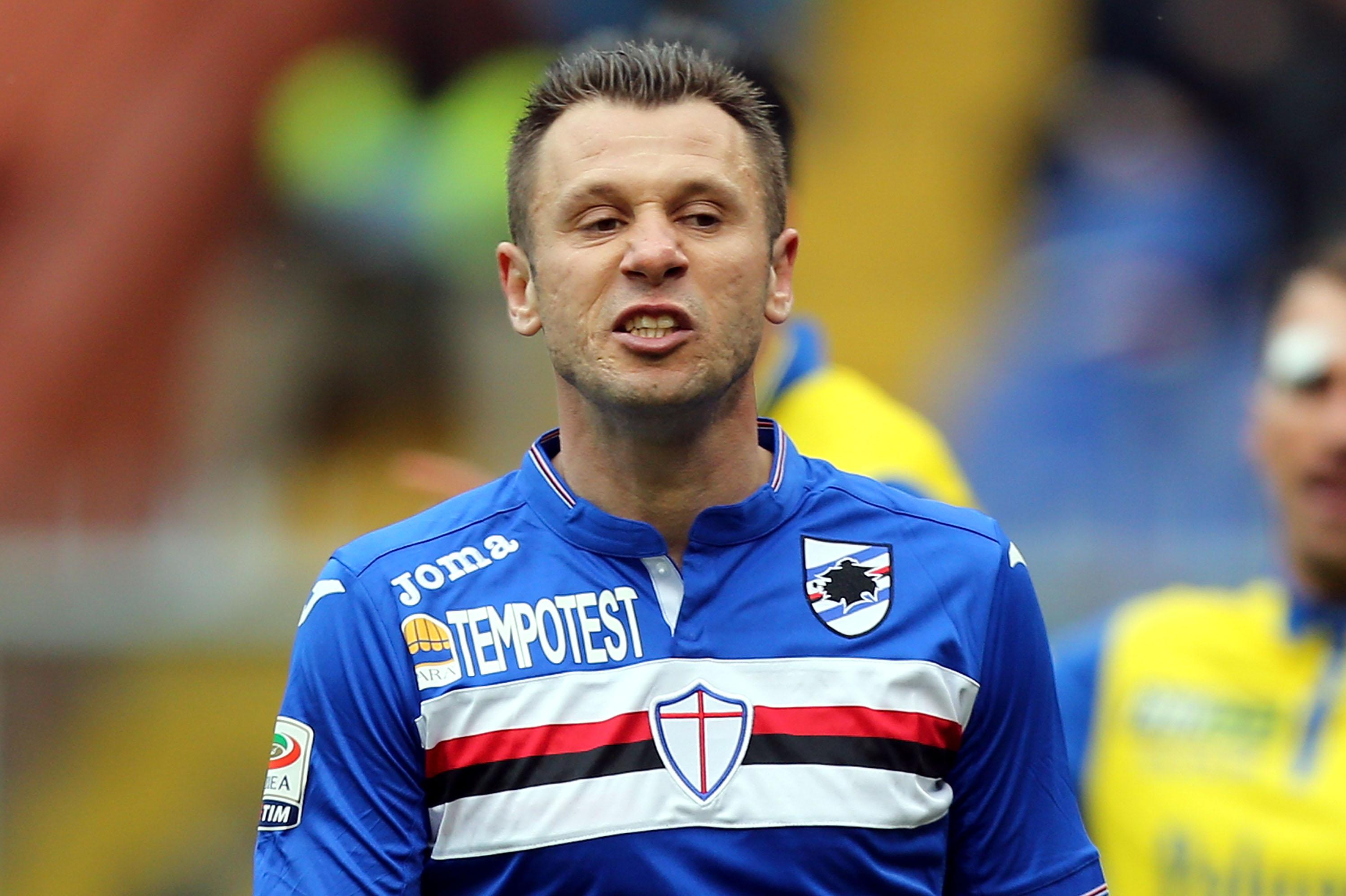 Antonio Cassano played his last competitive game for Sampdoria over two years ago