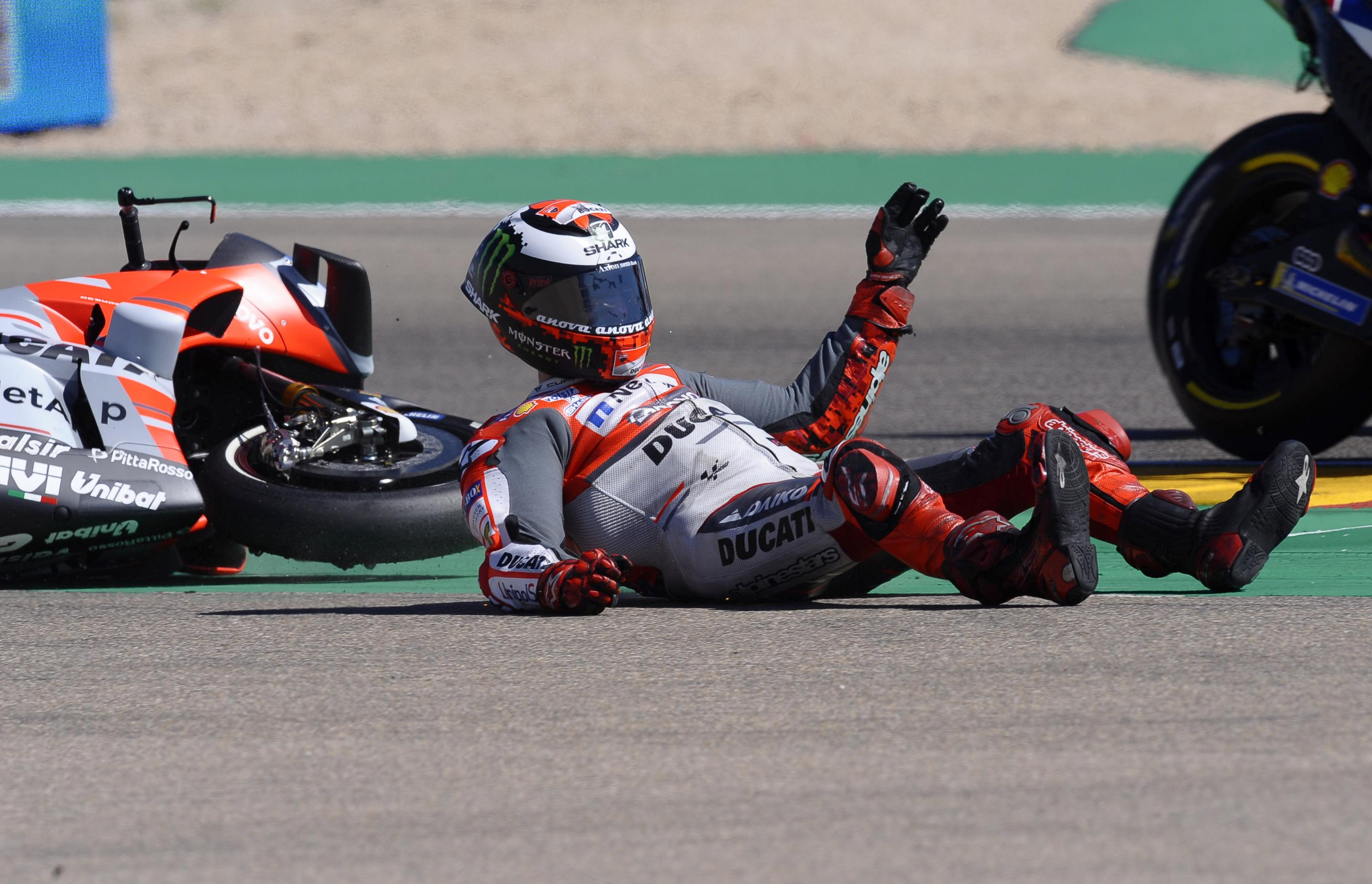 Jorge Lorenzo was catapulted off his bike during practice at the Thailand GP
