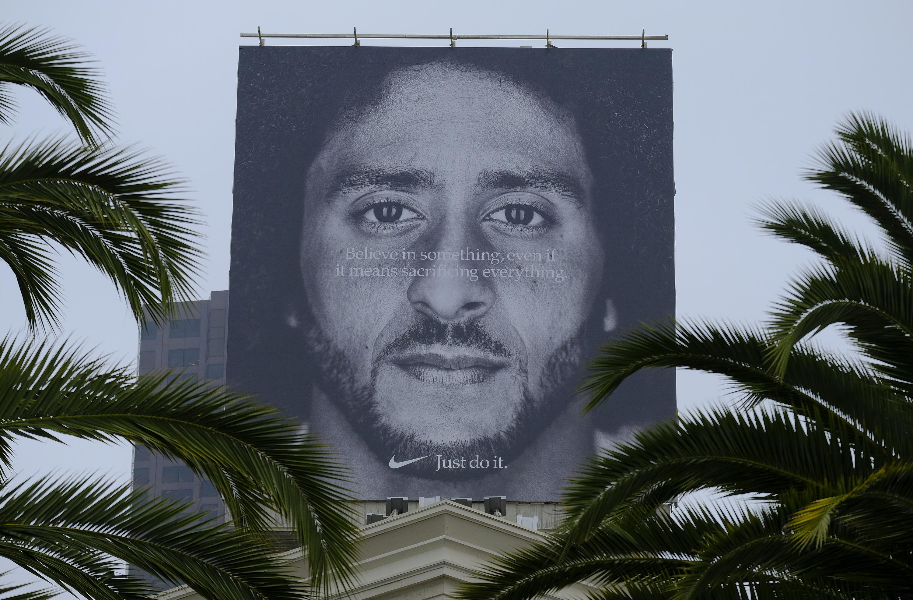Kaepernick's face featured on billboards for a massive Nike ad campaign