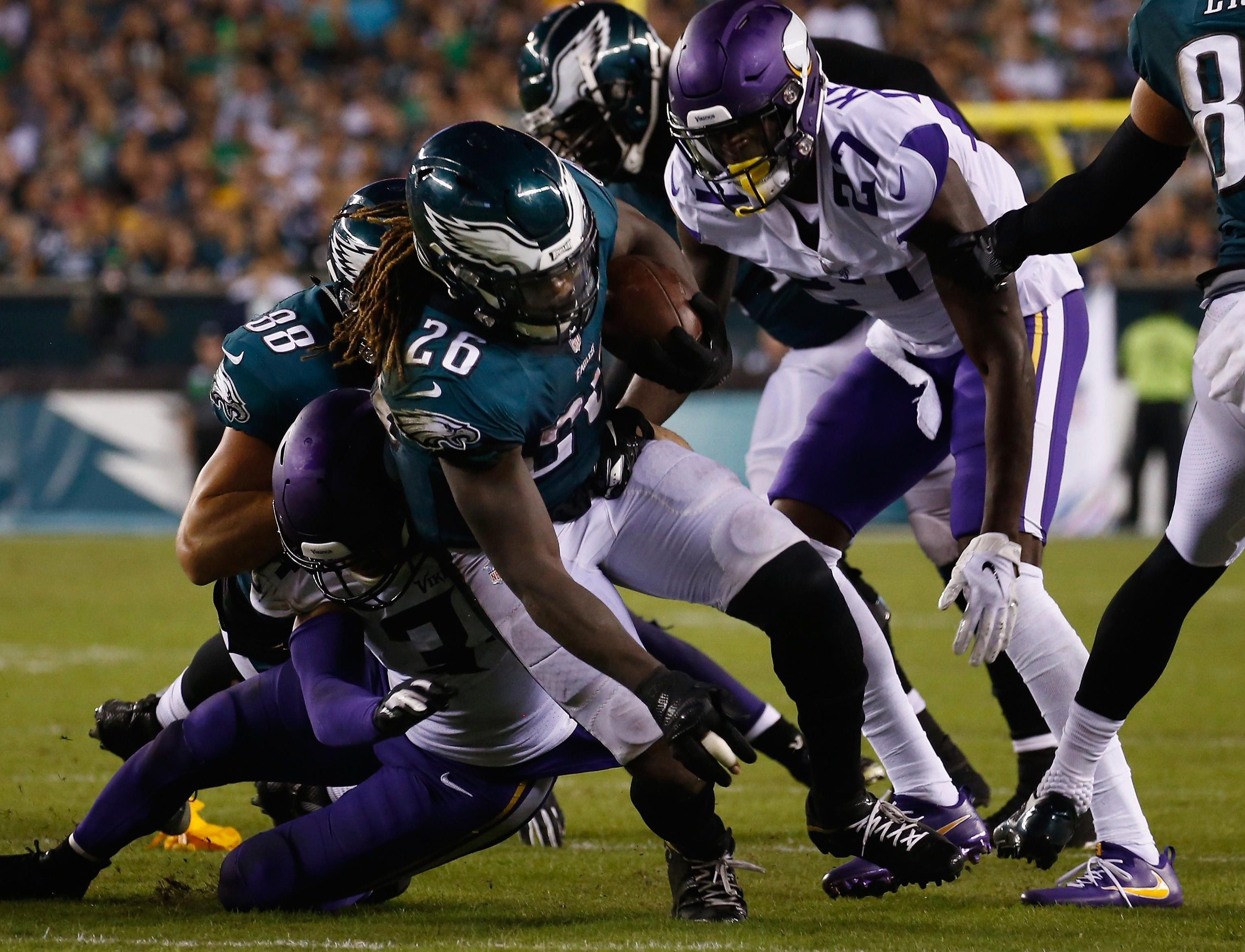Ajayi is taken down during the Eagles' defeat to the Minnesota Vikings