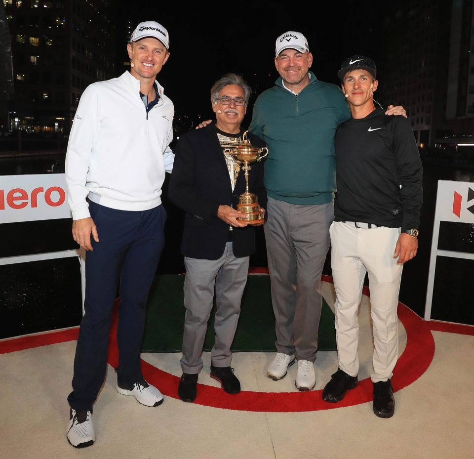 Rose was at the Hero Challenge on the River Thames yesterday along with Ryder Cup captain Thomas Bjorn and team-mate Thorbjorn Olesen