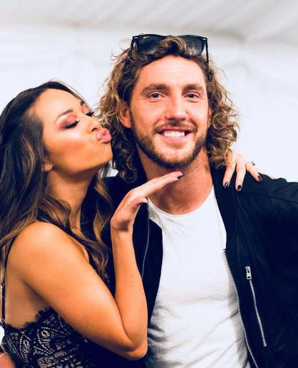 Katya Jones, left, with Seann Walsh on Strictly