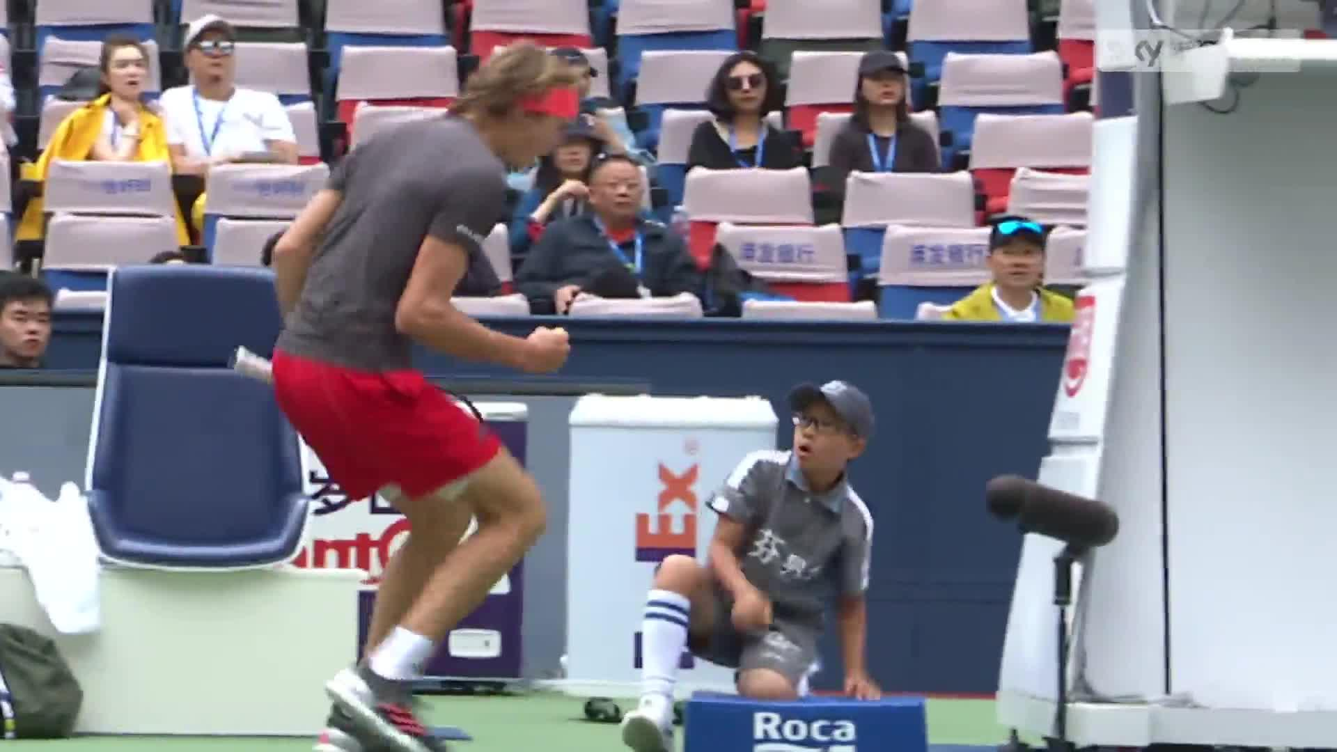 Alexander Zverev was passionate after winning a point - much to the poor lad's shock