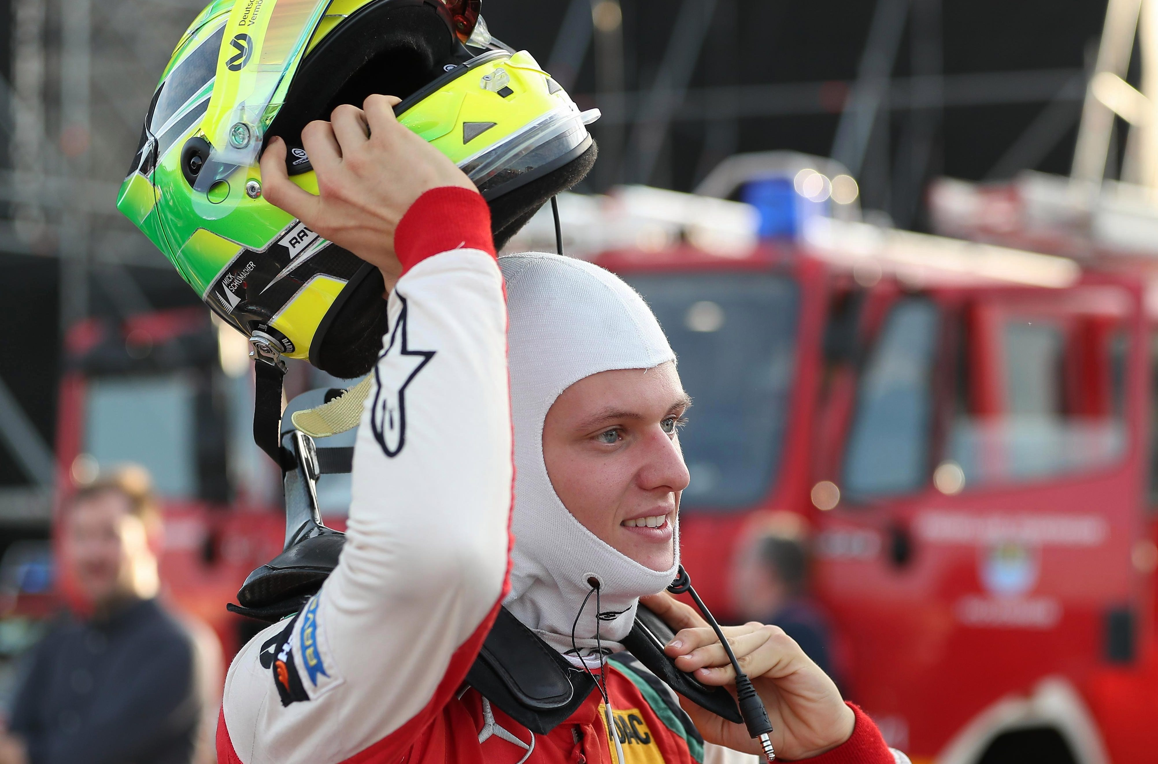Mick Schumacher enjoys his moment of triumph as he clinches the F3 crown in Hockenheim