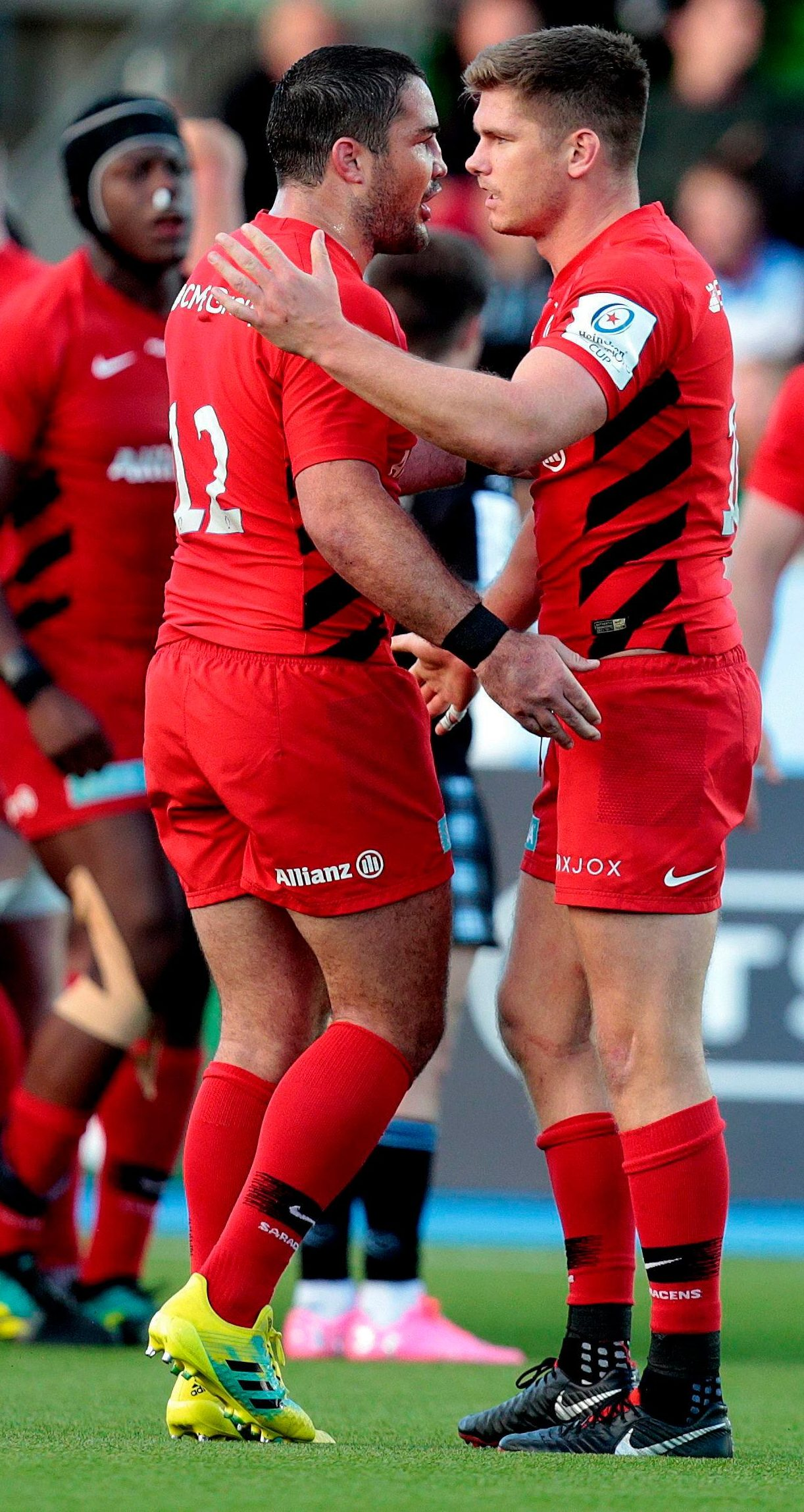 Brad Barritt, left, and Owen Farrell celebrate a gruelling Champions Cup victory