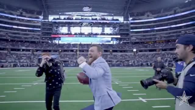 Dublin star Conor McGregor got on the pitch in Dallas