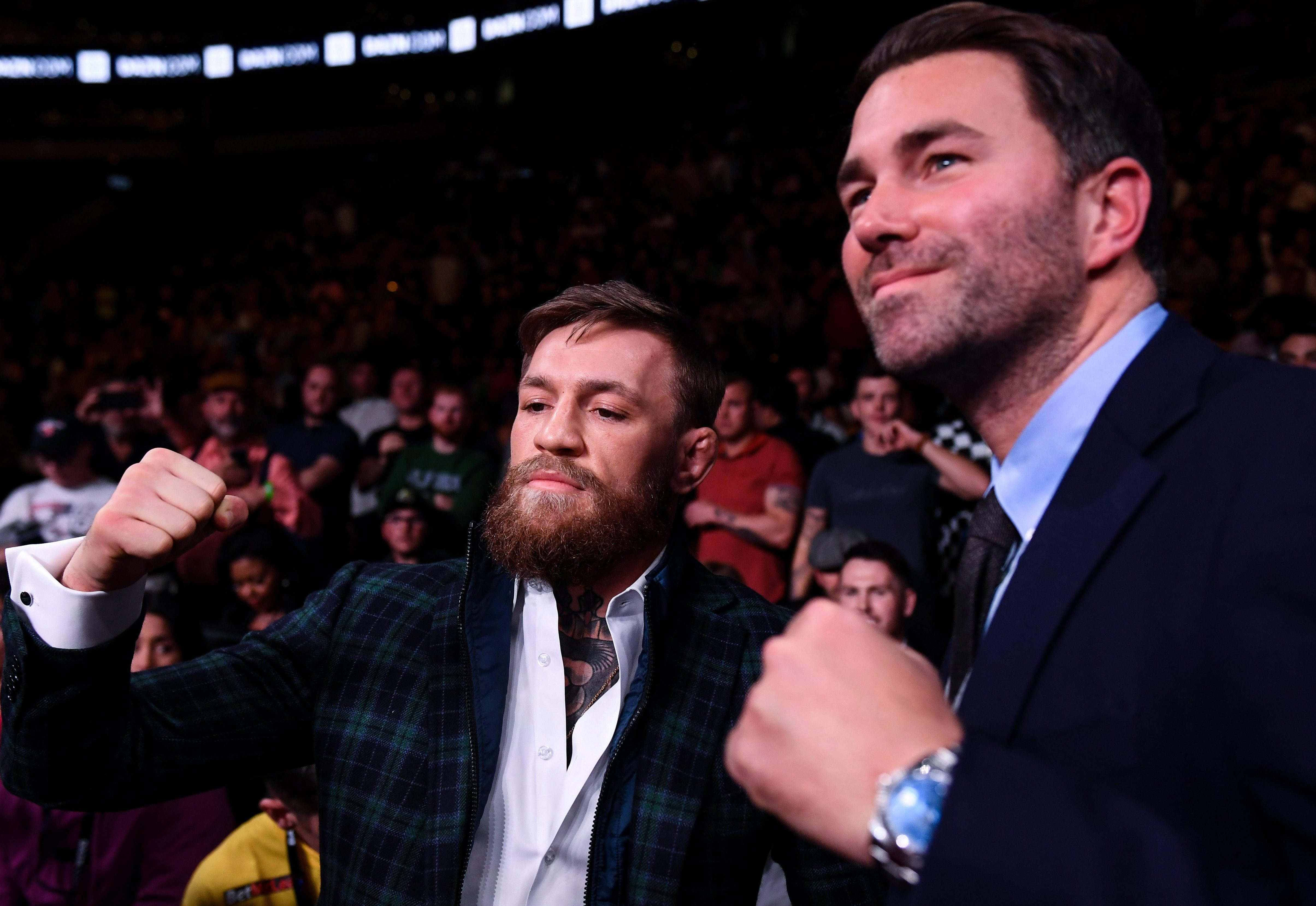Hearn, seen here with Conor McGregor, labelled Wilder a time waster following months of failed negotiations to secure a fight against Anthony Joshua
