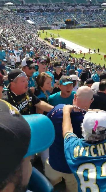 A mass brawl broke out between Jacksonville Jaguars and Houston Texans fans