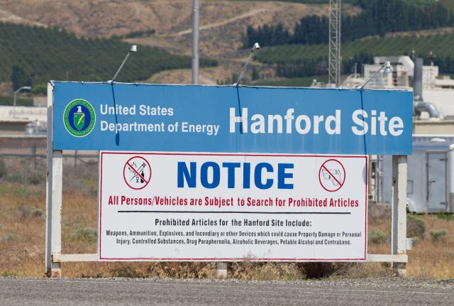 The entry sign at the United States Department of Energy, Hanford Site