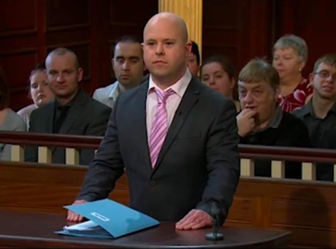 Ben Lacombe pretened to be in an argument about rent due with his then partner TV show Judge Rinder