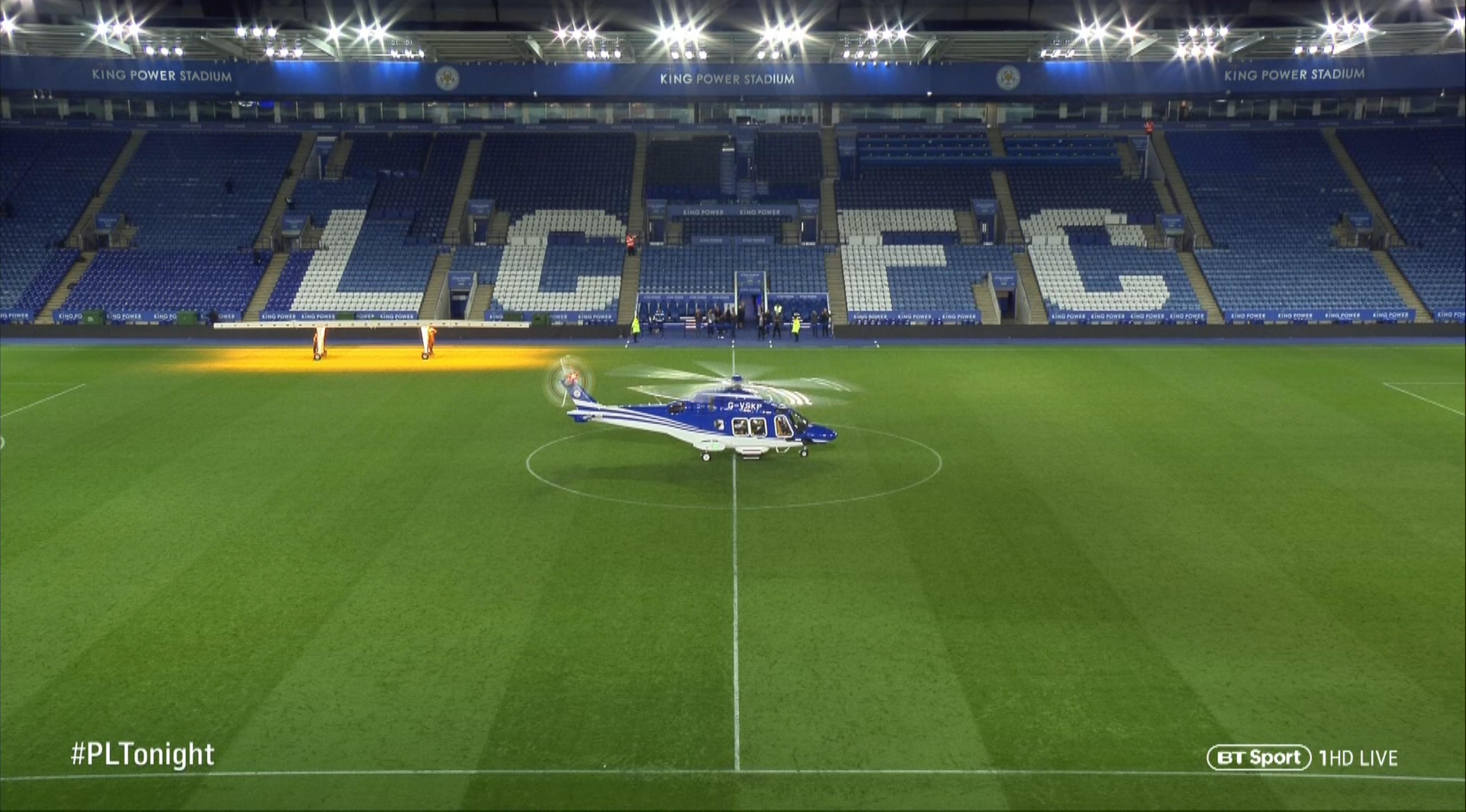 The helicopter was shown on BT Sport coverage minutes before the crash