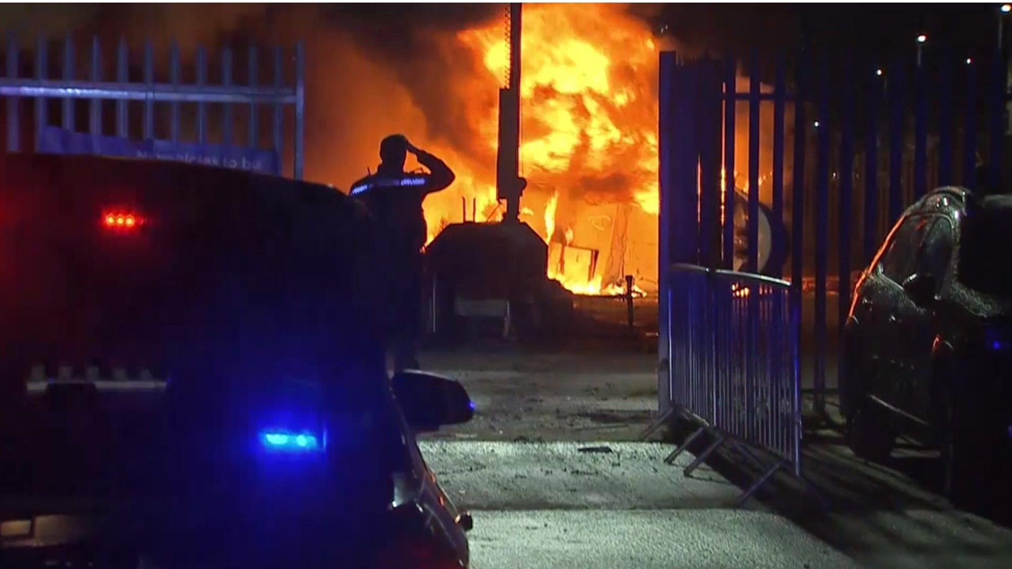 A cordon was created around the flames as the area was evacuated