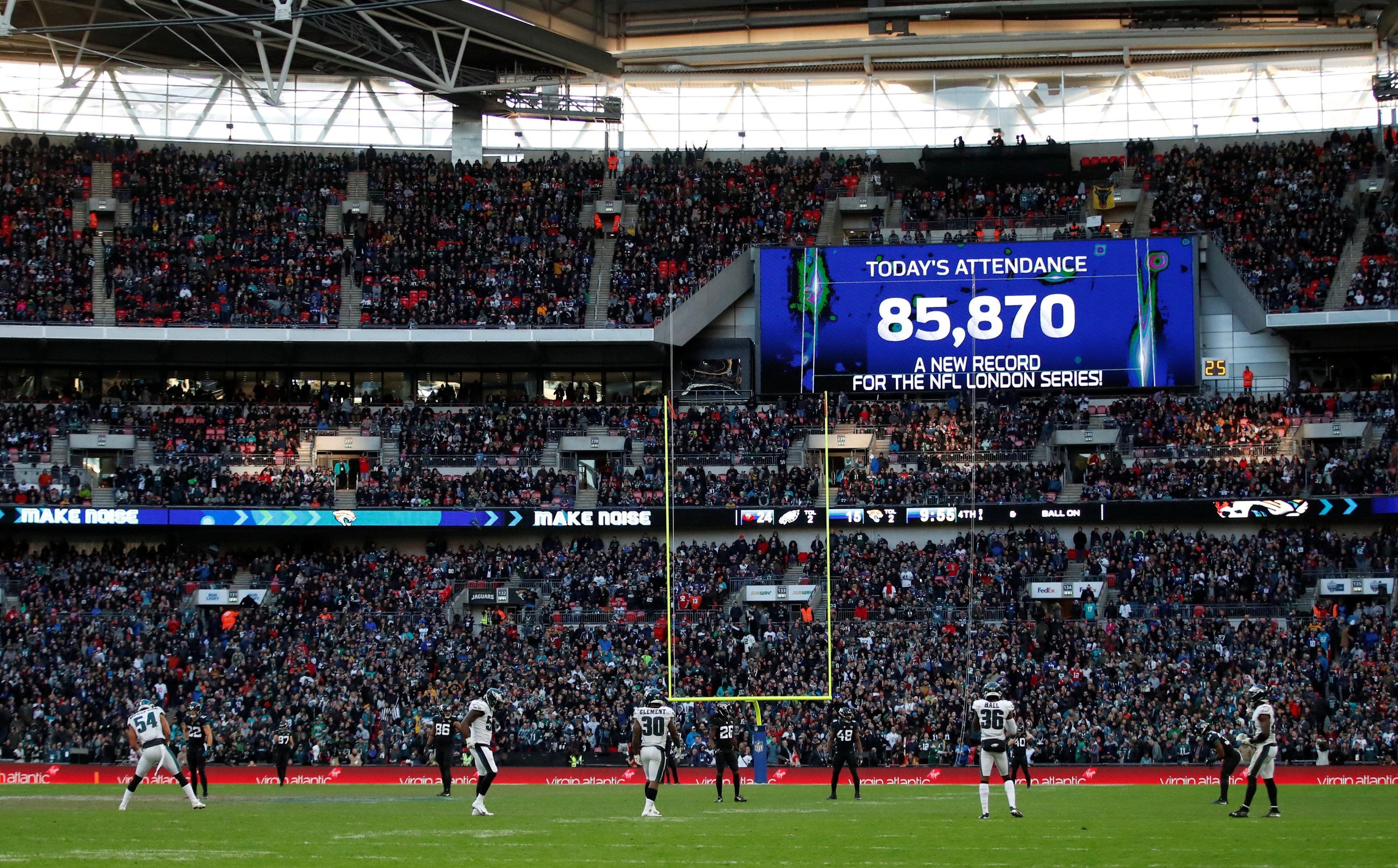 Today's game broke the NFL London record, with 85,870 in attendance