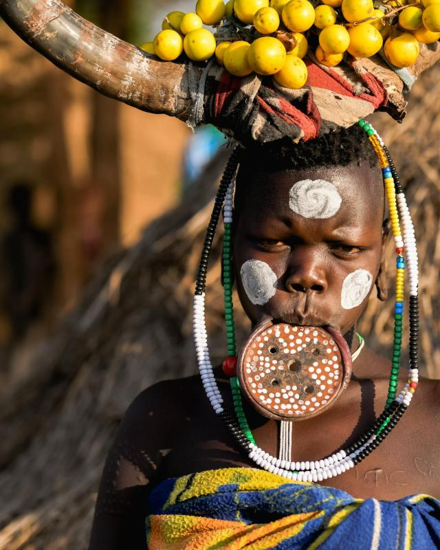 The amazing Mursi lip-plate shows a woman's status in the community