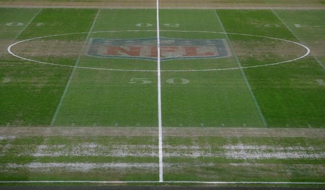 The NFL logo was easily visible in the centre of the pitch for the game live on TV