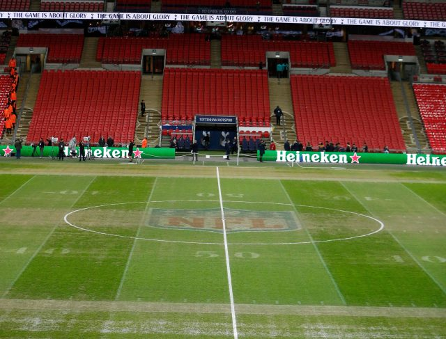 Wembley hosted an NFL match just 30 hours before the Premier League game kicked off at 8pm yesterday