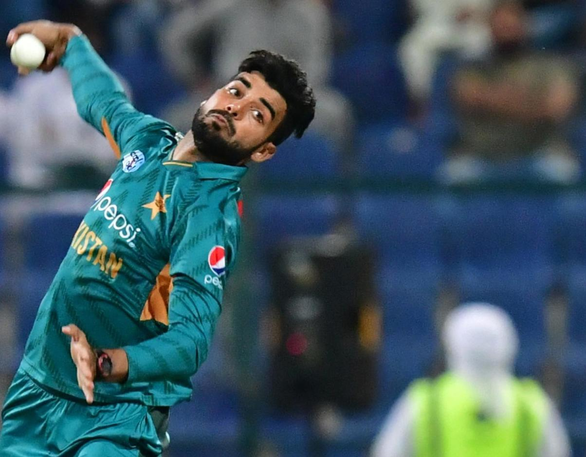 Pakistan's Shadab Khan delivers a ball during the first T20 match