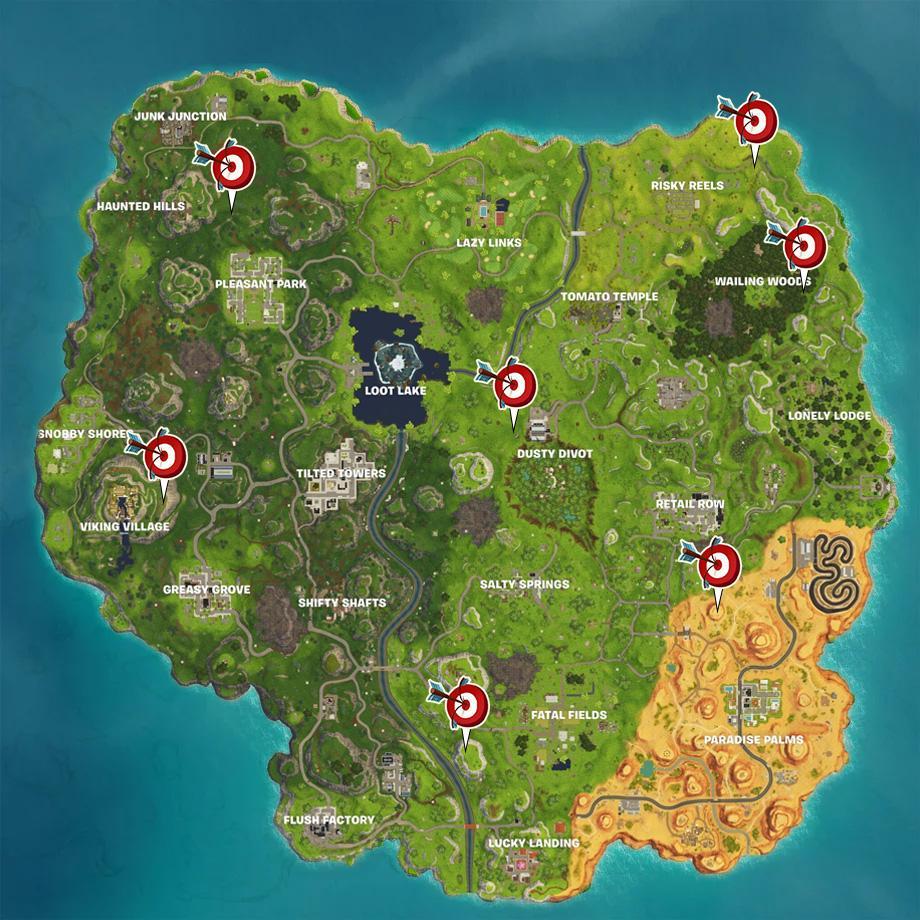 fortnite shooting galleries locations