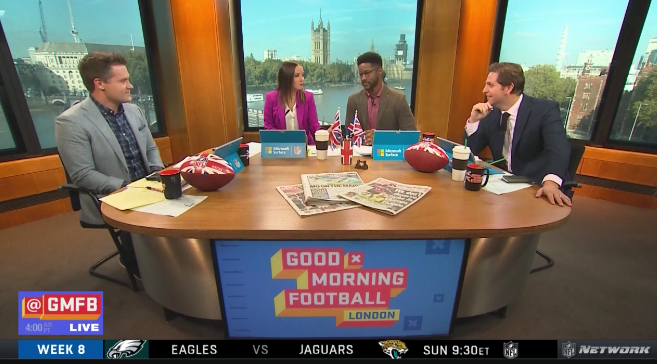 (l-r) Kyle Brandt, Kay Adams, Nate Burleson and Peter Schrager present the energetic morning show on NFL Network