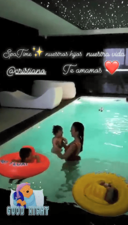 Georgina Rodriguez, 23, shared a video of herself in a pool on Instagram Stories