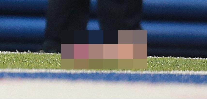 The sex toy had writing on the side and was tossed onto the field during the rival match-up