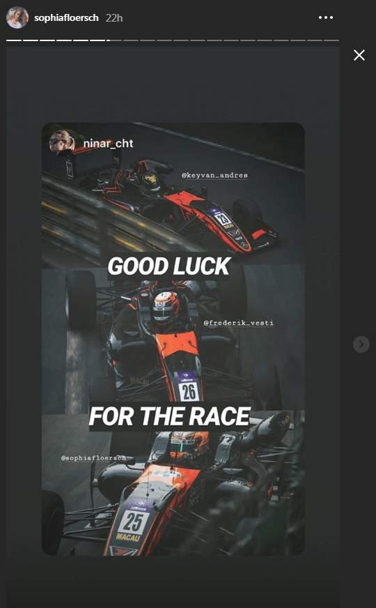 Floersch reposted many messages of good luck to her Instagram story