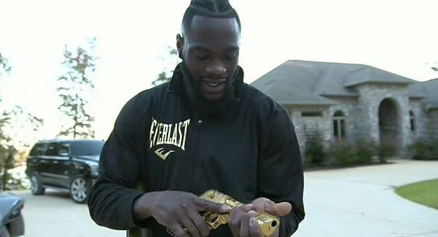 "Wilder also showed off his golden pistol, part of his massive gun collection ""enough for an army""."