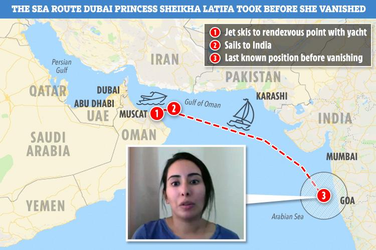 The route the princess is thought to have taken before she was allegedly kidnapped