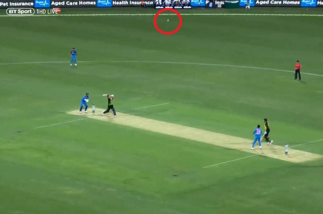 Maxwell's effort headed high after the batsman sliced his shot