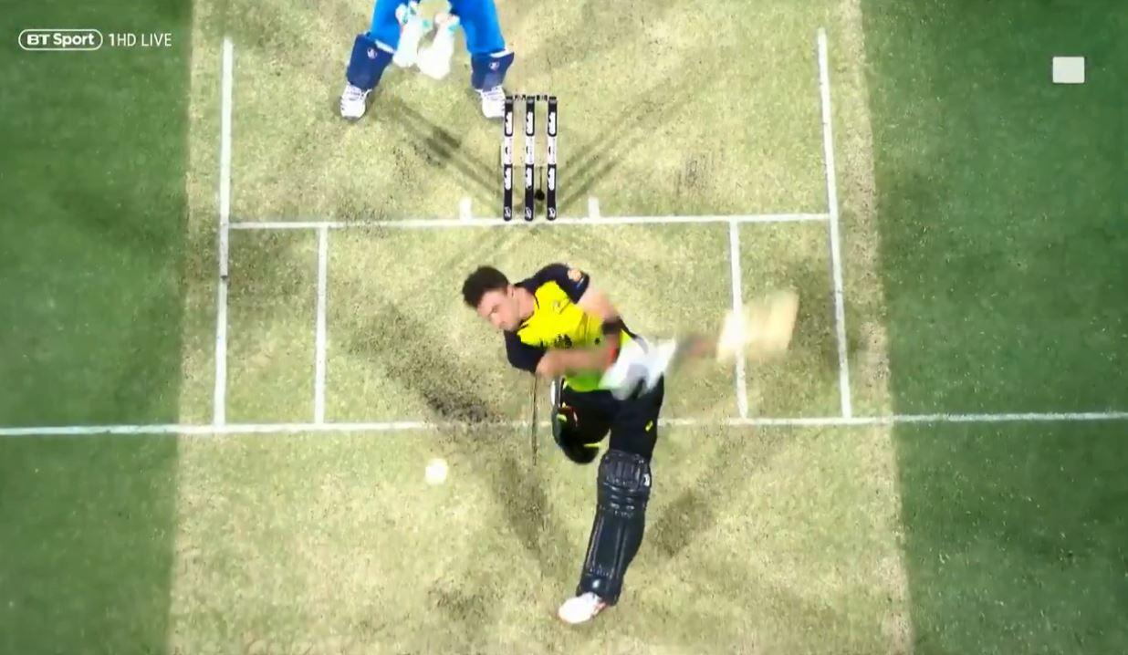 Glenn Maxwell hit his shot up into the Brisbane night sky as footage showed the ball heading towards the spider cam