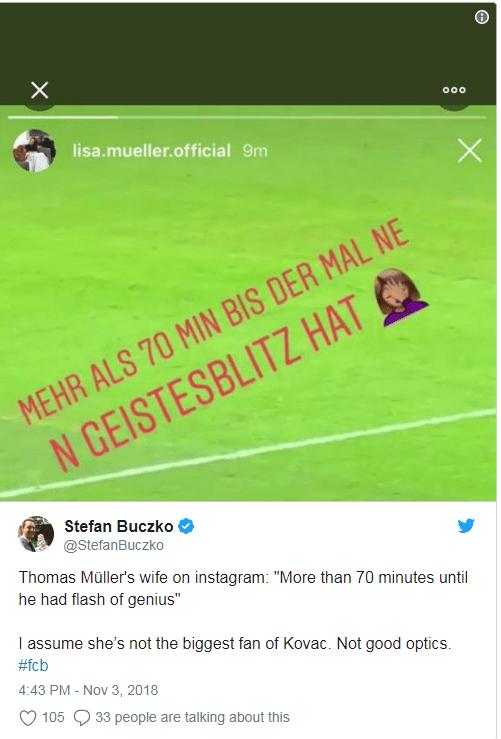 Lias Muller later deleted this post on Instagram slamming Niko Kovac for not starting her husband against Freiburg