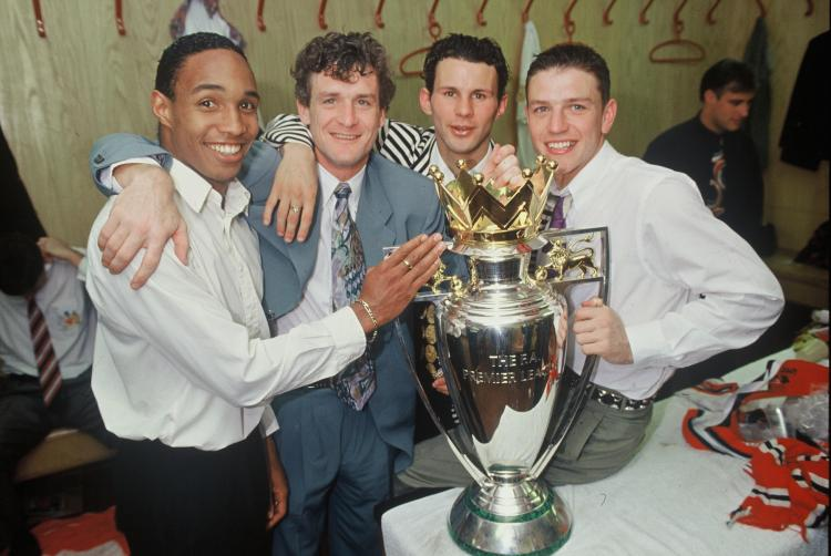 Paul Ince won two Premier League titles at Manchester United with Mark Hughes, Ryan Giggs and Lee Sharpe in the early 1990s