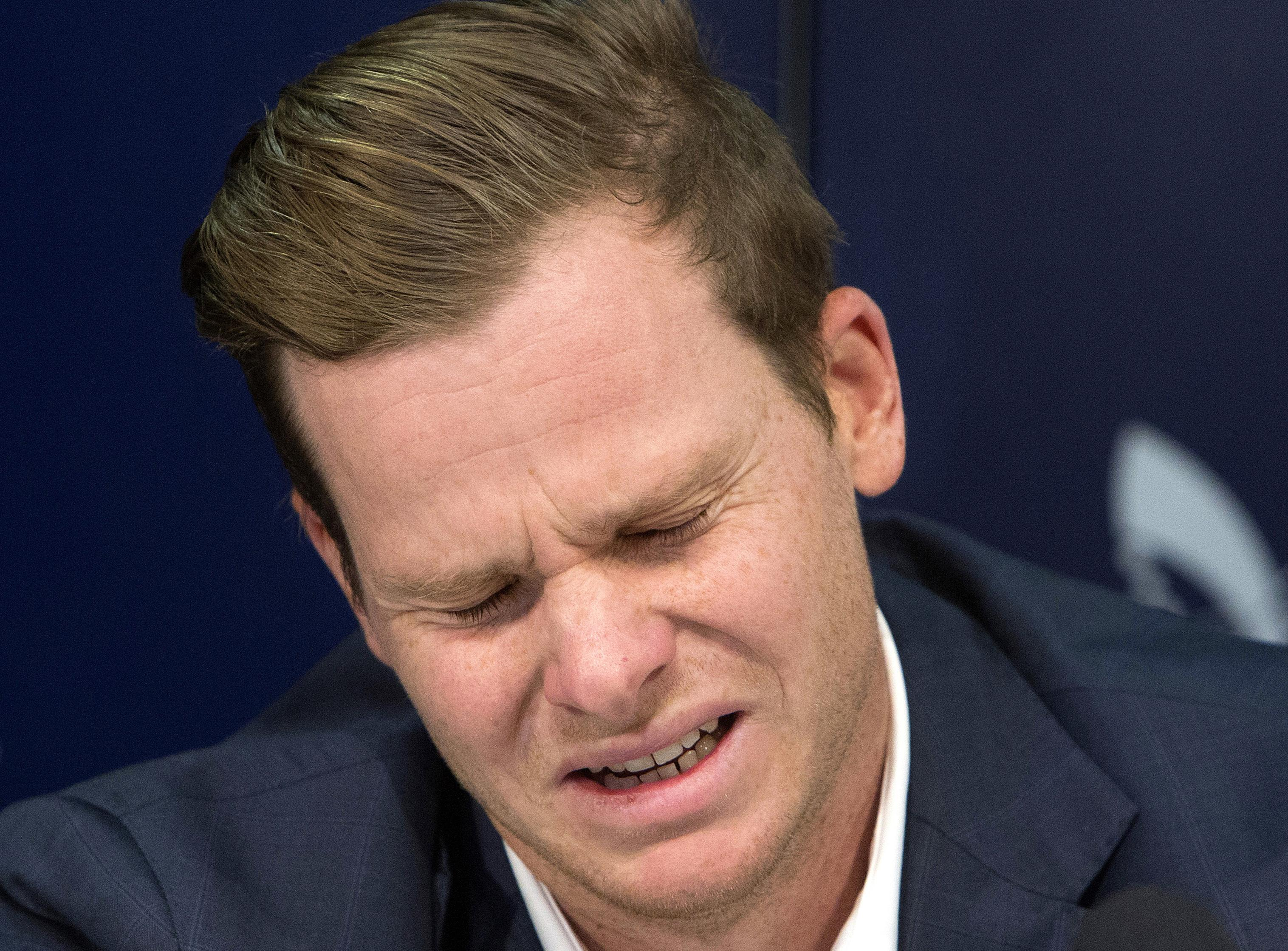 Steve Smith breaks down at a press conference in March discussing his ball-tampering ban