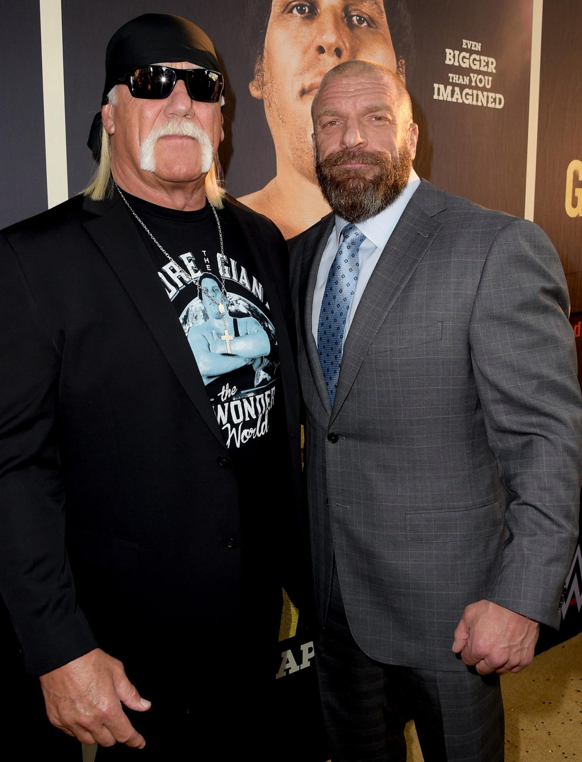 Triple H (right) with Hulk Hogan, who hosts the Crown Jewel