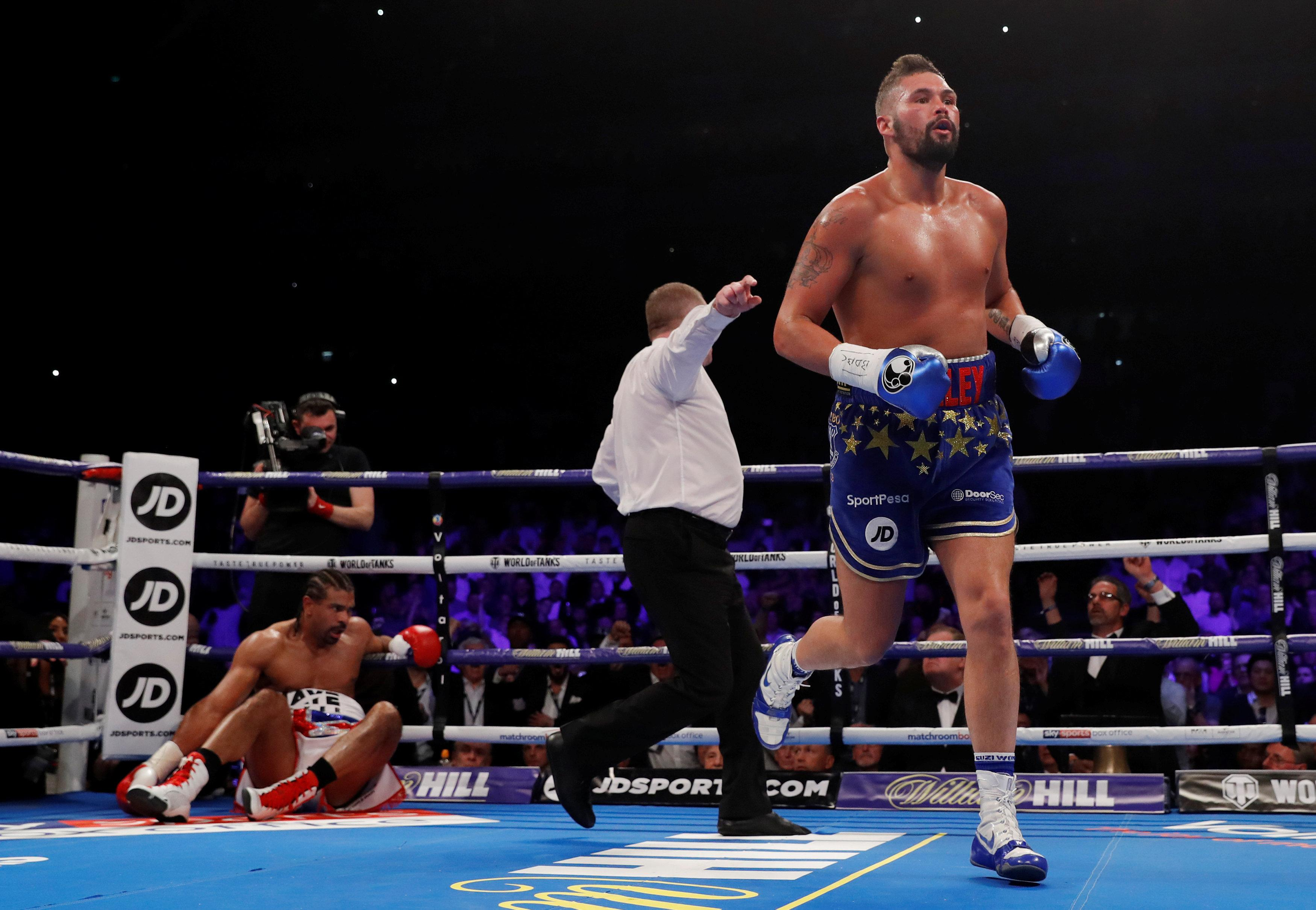 Haye was dropped three times before the referee called a halt to the contest