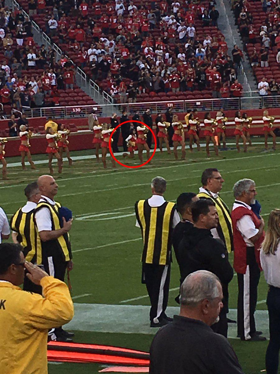 The San Francisco 49ers cheerleader was shown kneeling during the US national anthem