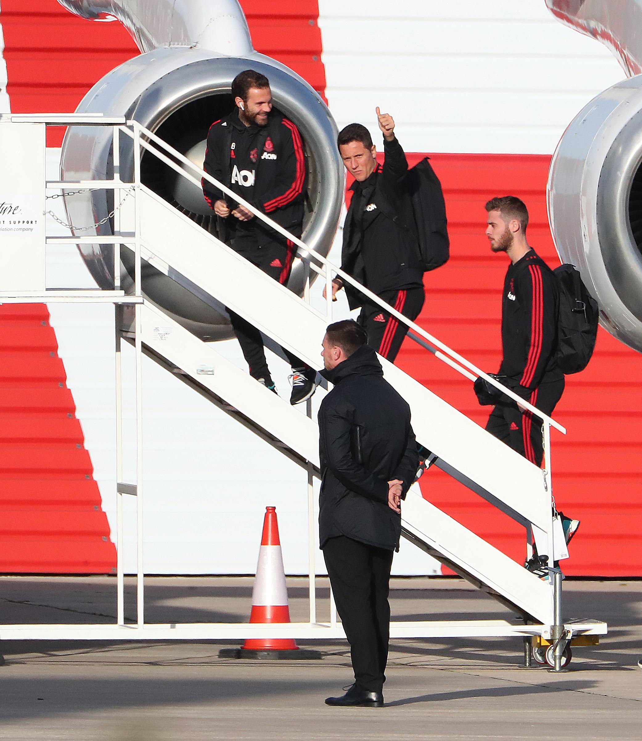 Ander Herrera flies put with the Manchester United squad to face Bournemouth today