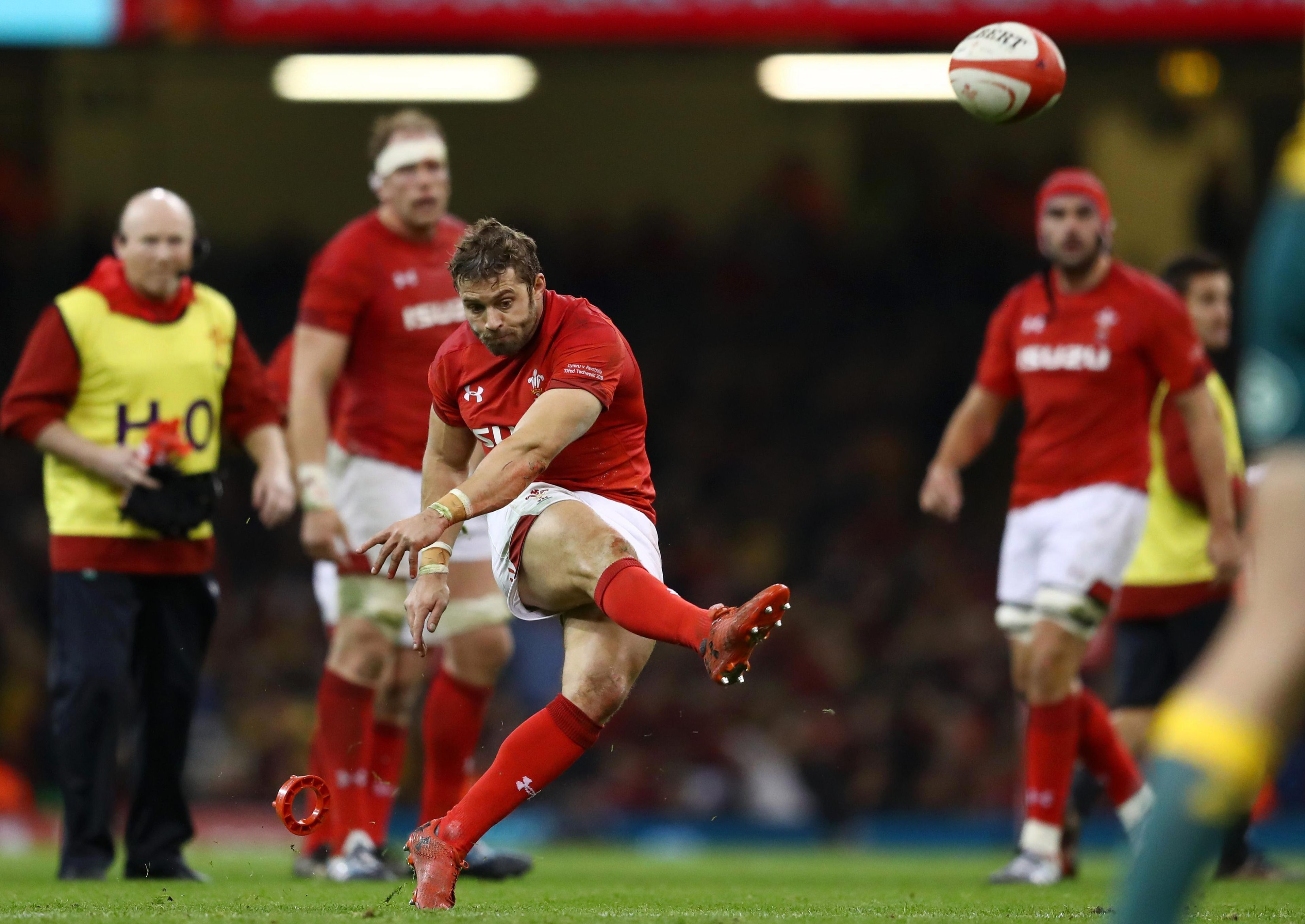 Leigh Halfpenny was originally on kicking duties - but a heavy blow saw him leave the pitch