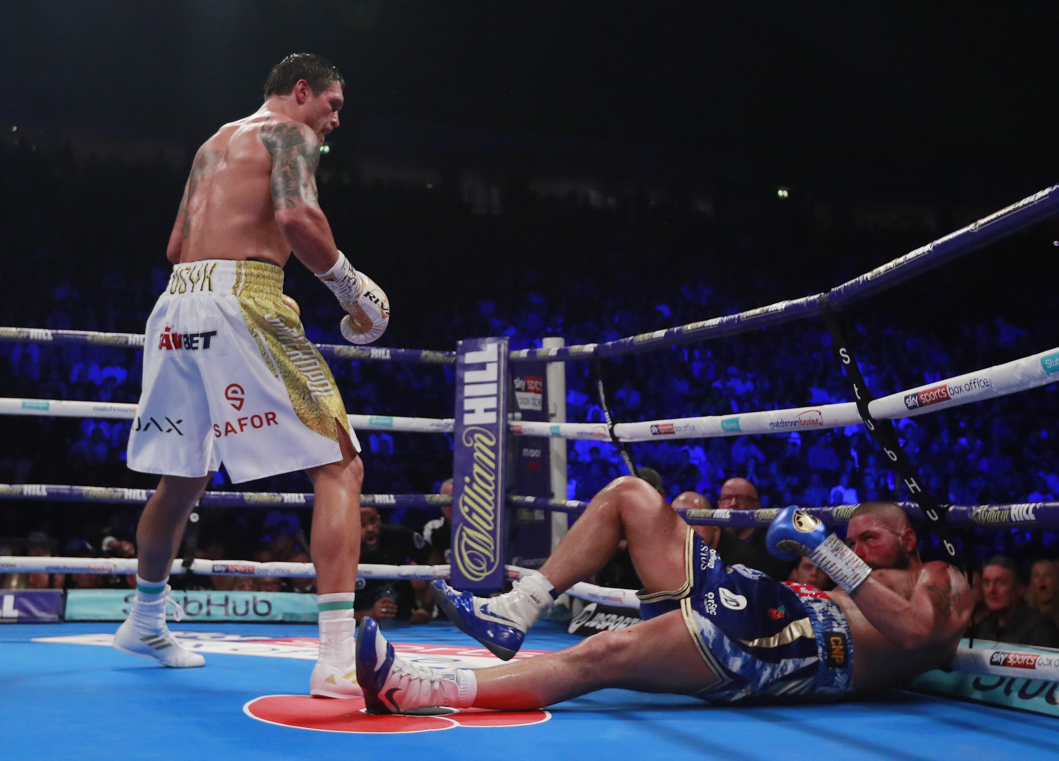 Usyk knocked Bellew out with a sharp left hook in round eight