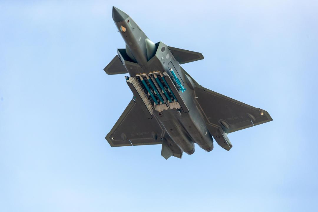China showed off their J-20 stealth fighter jets carrying four missiles back in 2018