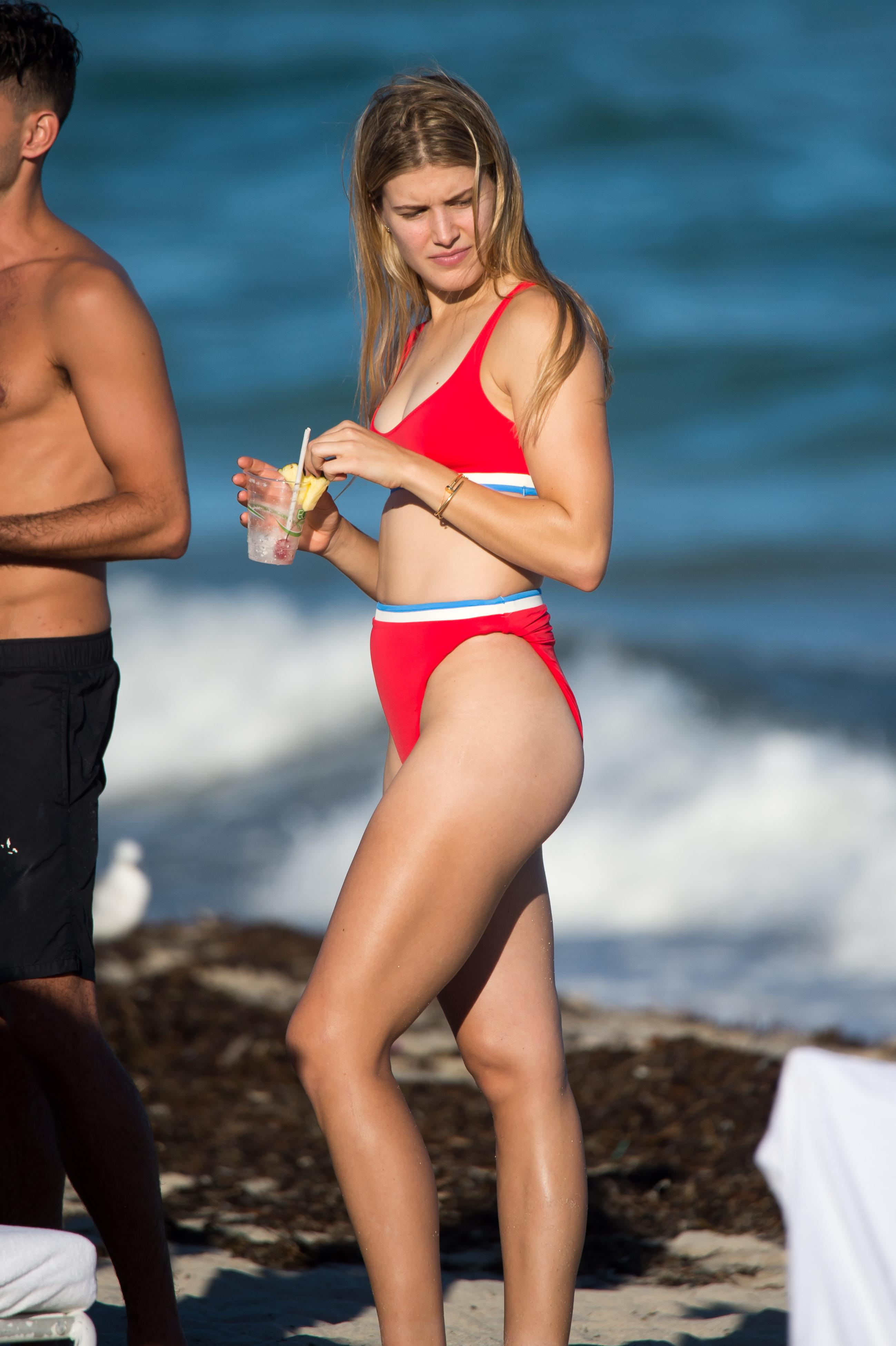 The Canadian-born star enjoyed a stay in Miami before she travelled to Necker Island