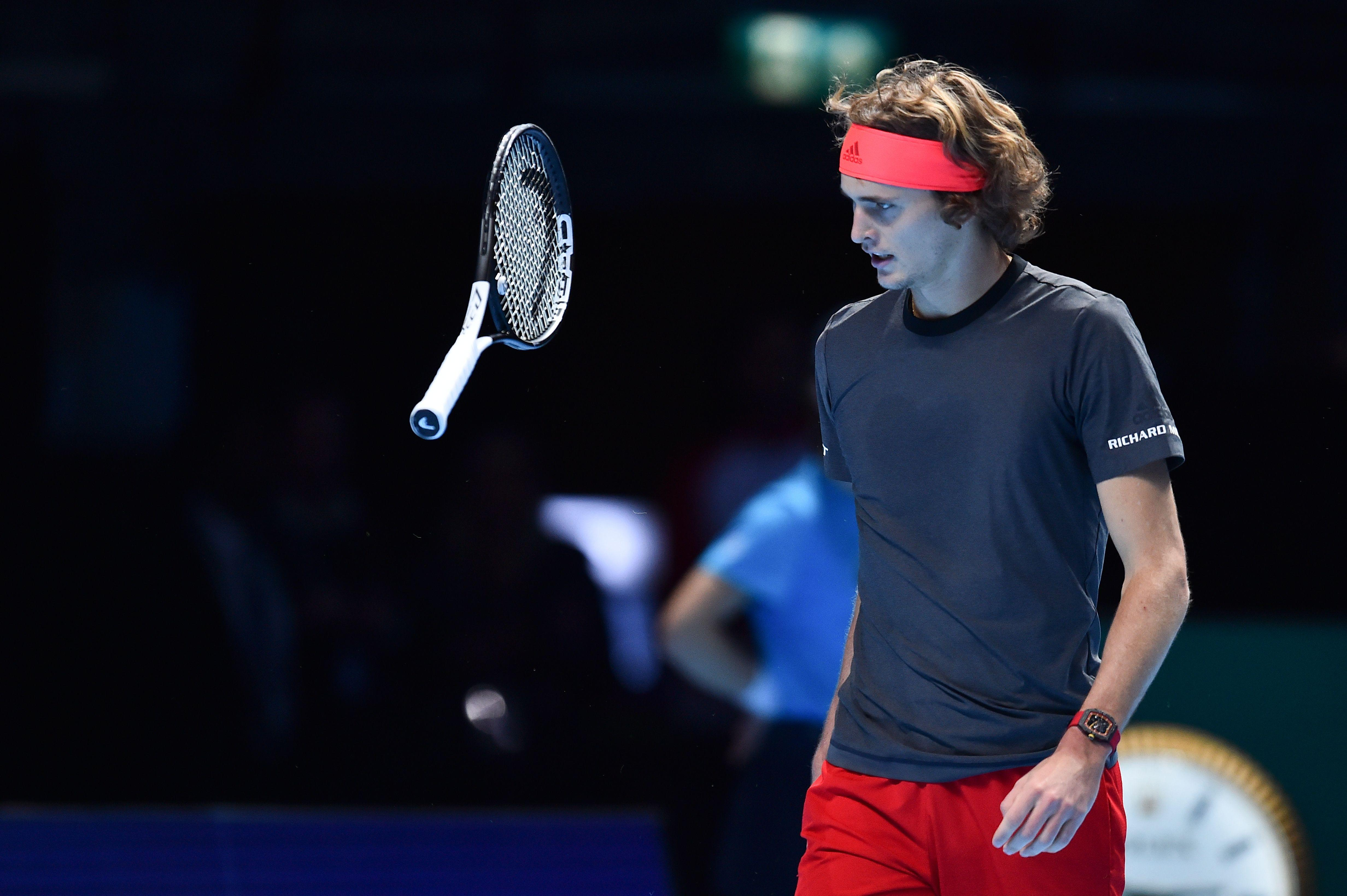 The German ace launched his racquet after he lost a point at the O2 Arena