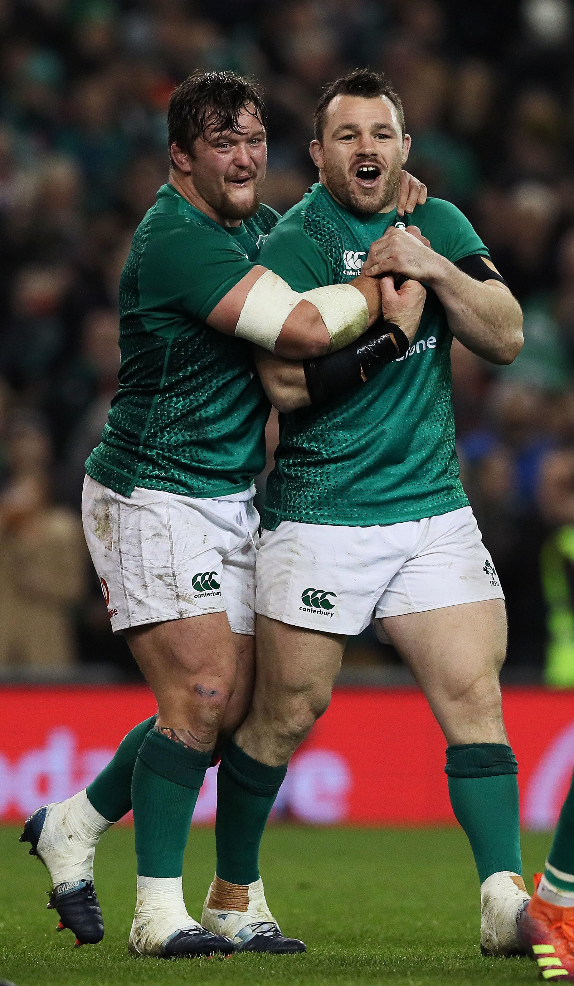 Ireland duo Cian Healy and Andrew Porter after the last autumn international win