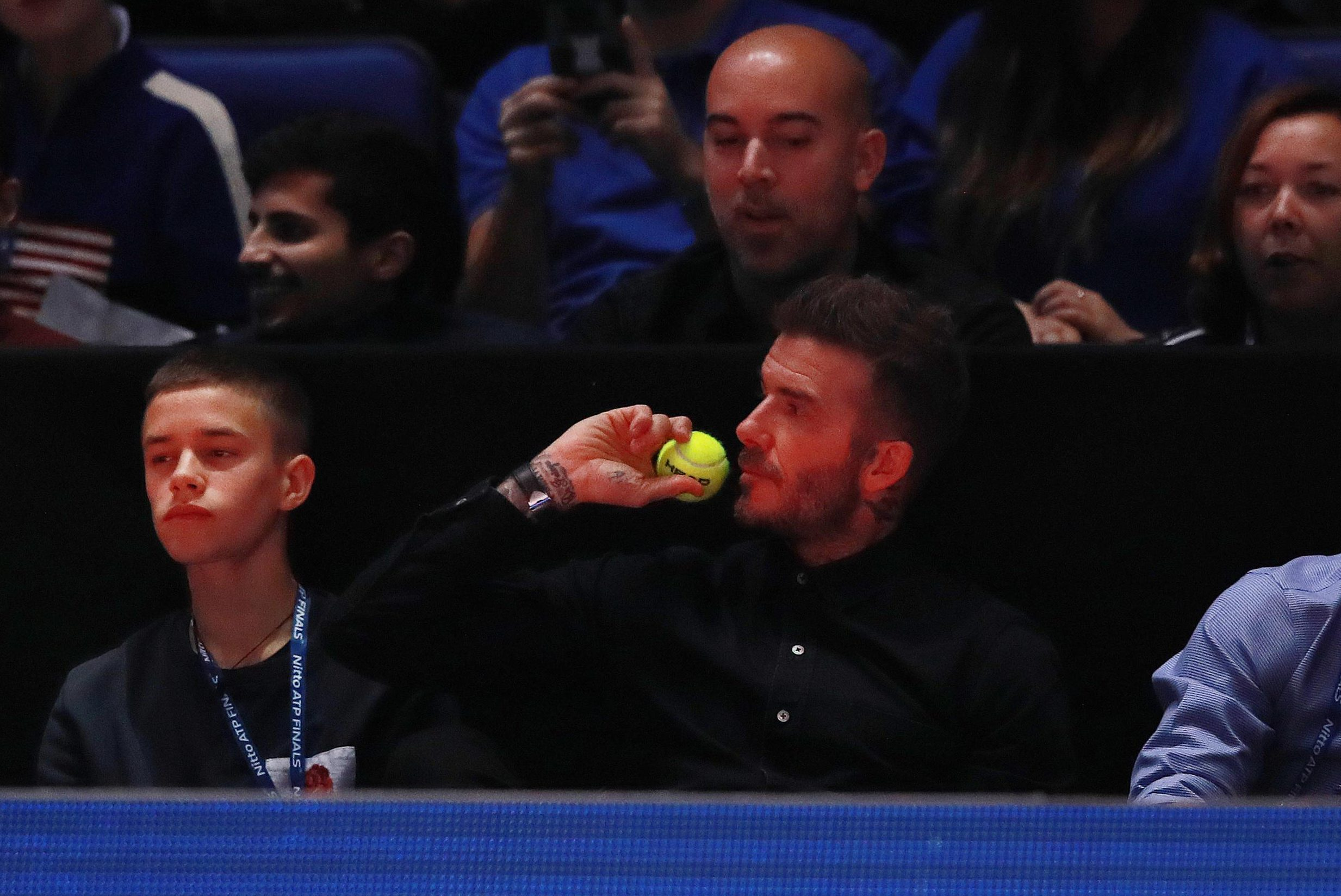 David Beckham goes from England skipper to ball boy as he enjoyed a memorable evening for Alexander Zverev against Novak Djokovic