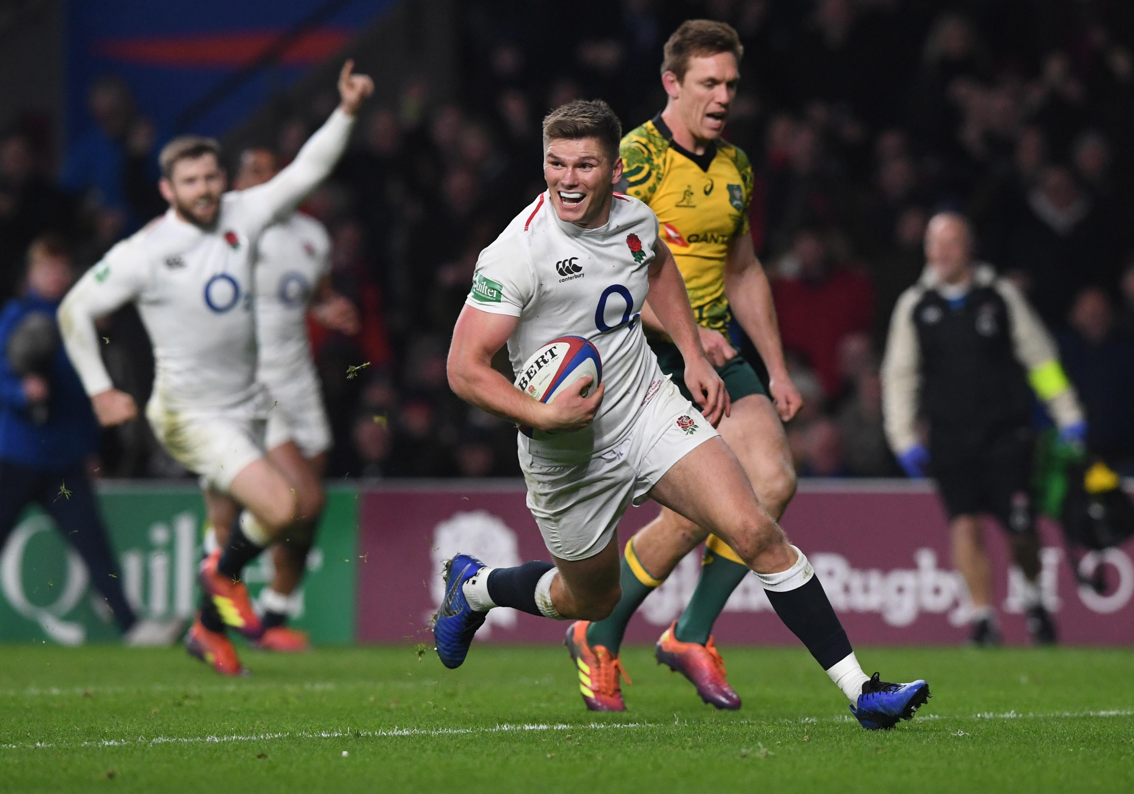 Owen Farrell sprints in for a try in a brilliant win